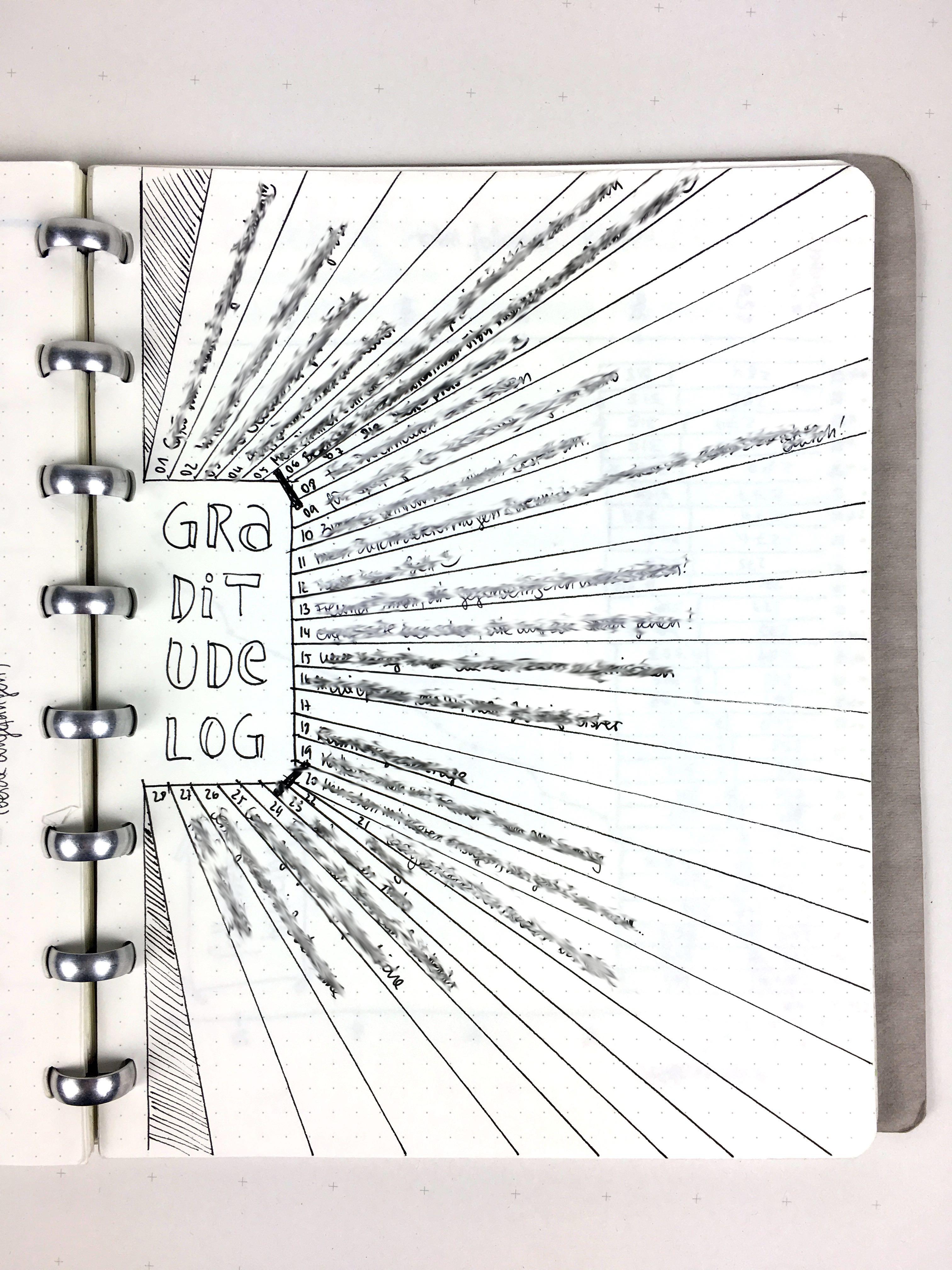 Graditudelog: In Streifen von der Mitte ausgehende Zeilen für jeden Tag
