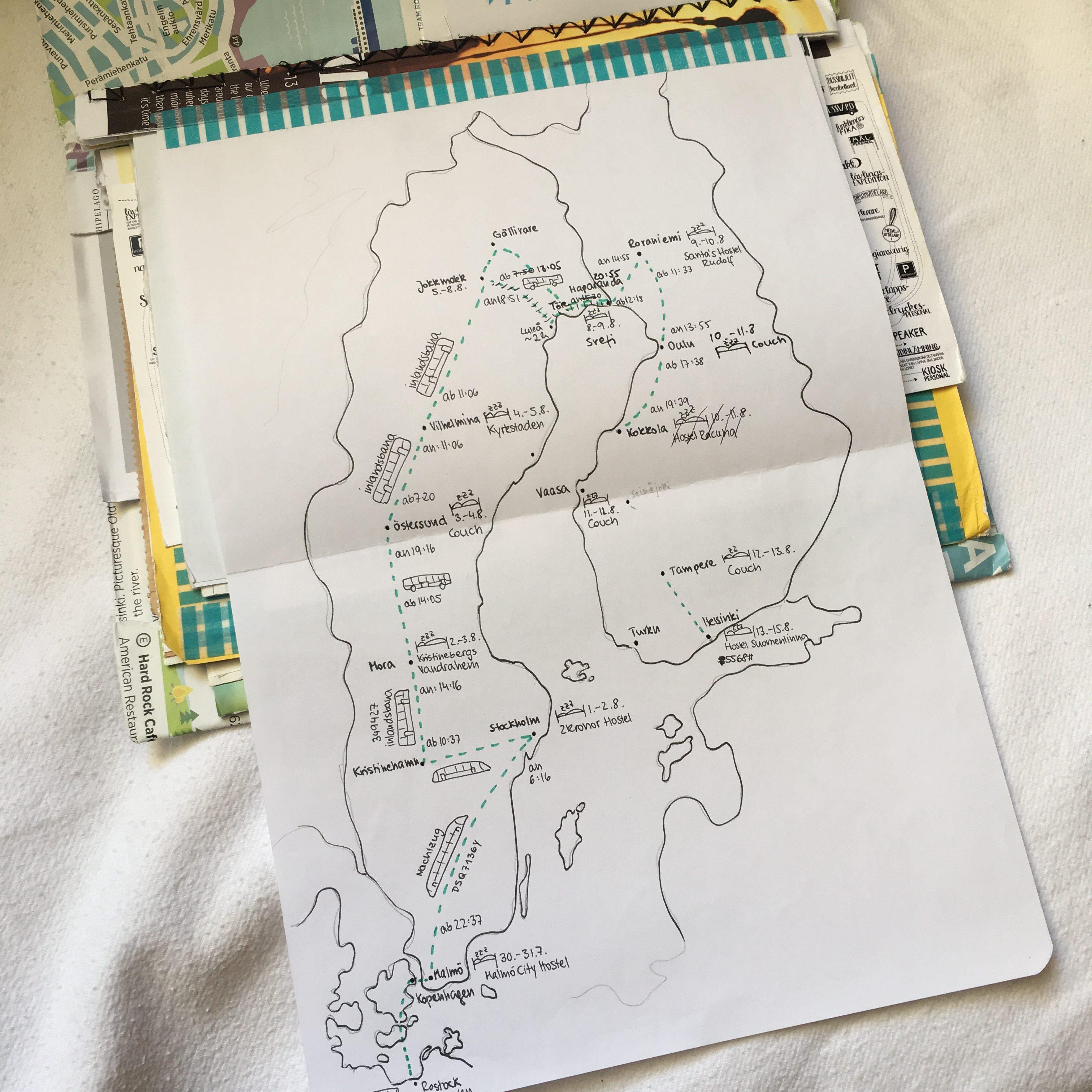 Reisesketchnotes Schweden Finnland