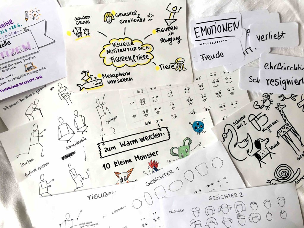 Visuelle Notizen Workshop Tiere Figuren Sketchnotes