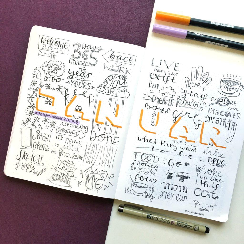 bestnine2019 instagram küstenkonfetti: bullet journal, Sketchnotes, 30daysdraworletter