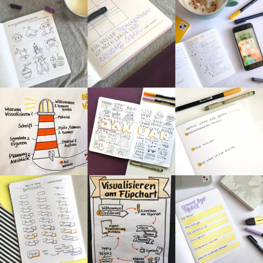 bestnine2019 instagram küstenkonfetti: bullet journal, Flipchartgestaltung, Sketchnotes